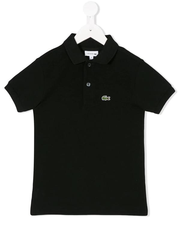 Lacoste Kids' Logo Detail Polo Shirt In Black