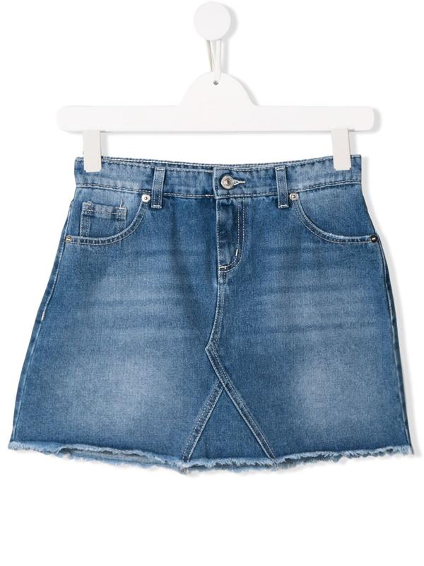 Chiara Ferragni Kids' Blue Cotton Blend Flirting Denim Skirt From