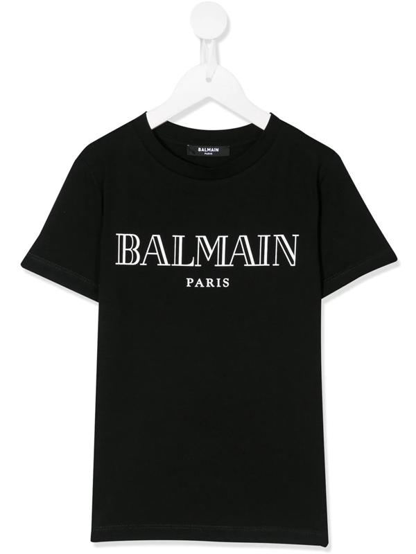 Balmain Kids' Logo Print Cotton Jersey T-shirt In Black
