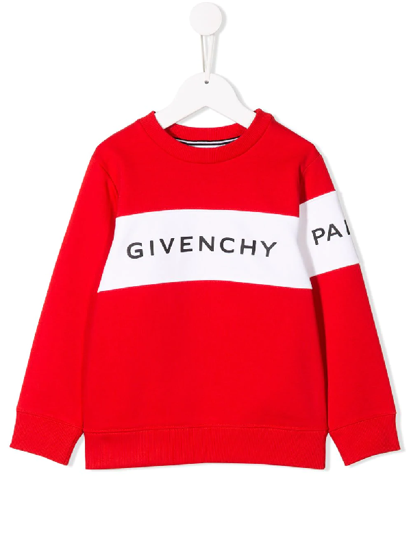 Givenchy Kids' Logo Printed Stripe Sweatshirt In Red