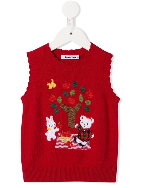 Familiar Kids' Knitted Bear Sleeveless Jumper In Red