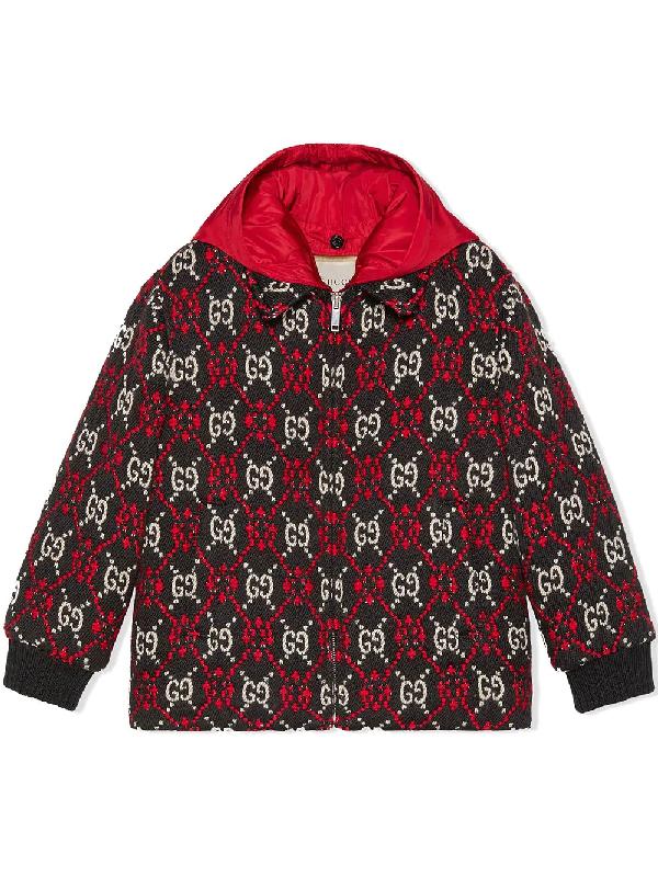 Gucci Kids' Gg Logo Hooded Wool Blend Bomber Jacket In Black