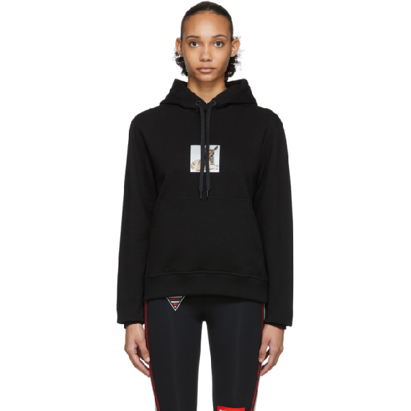 Burberry Junnes Deer Print Oversize Cotton Hoodie In Black