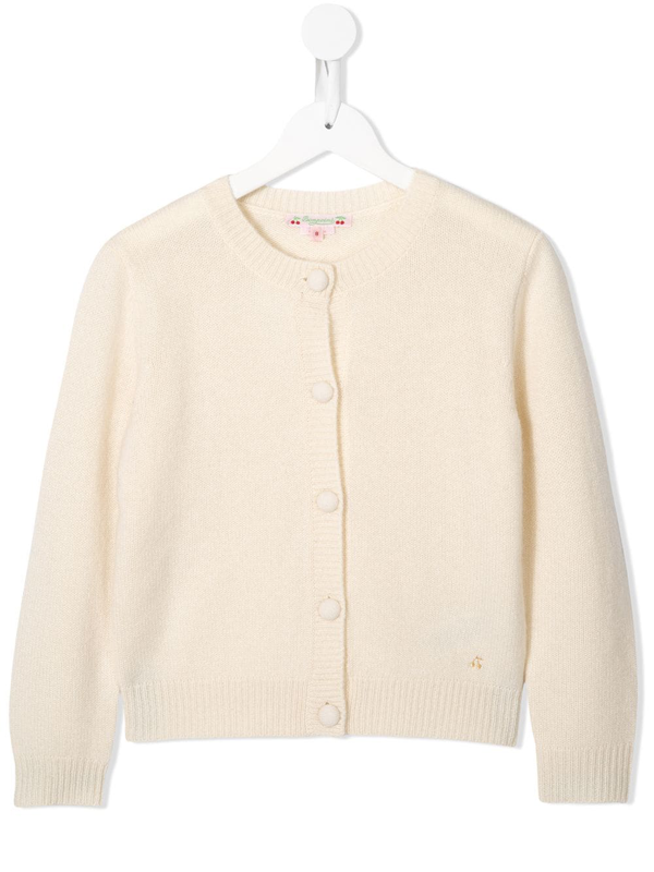 Bonpoint Kids' Cashmere Relaxed-fit Cardigan In White