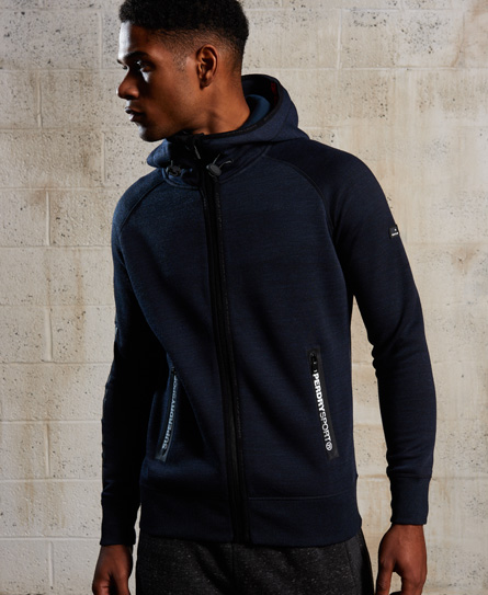 Superdry Gym Tech Zip Hoodie In Blue