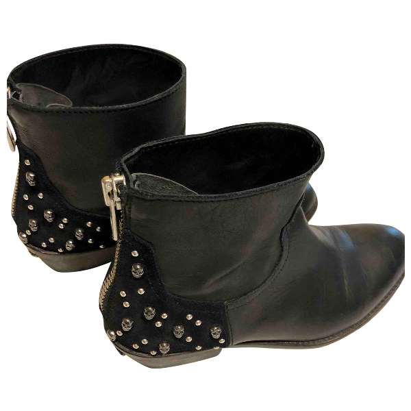 Zadig & Voltaire Black Leather Ankle Boots