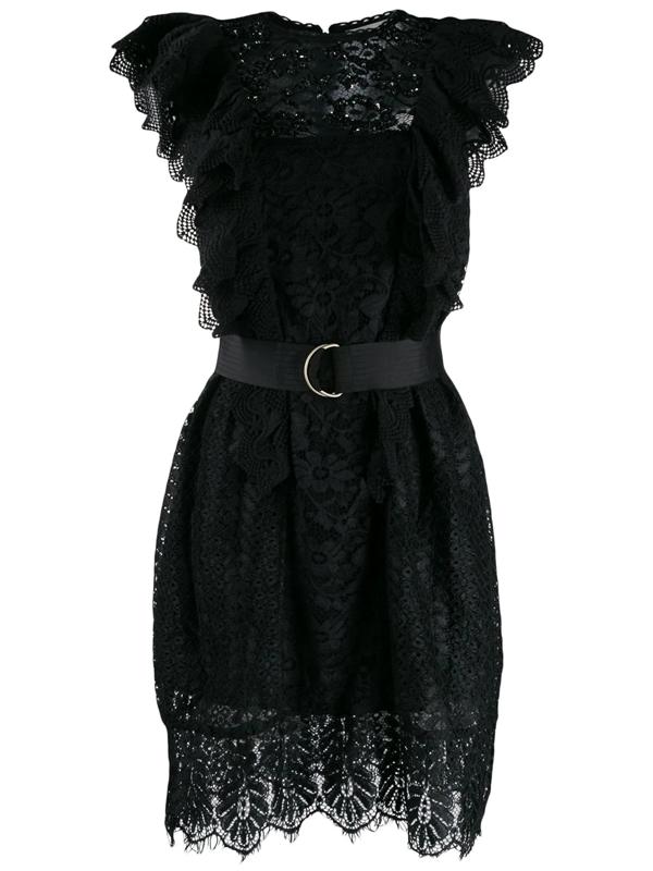 Essentiel Antwerp Vamos Lace Embroidered Dress In Black