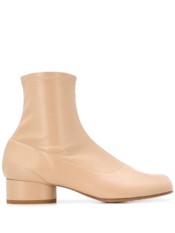 Maison Margiela Ankle Boots Tabi Calfskin Beige In Neutrals