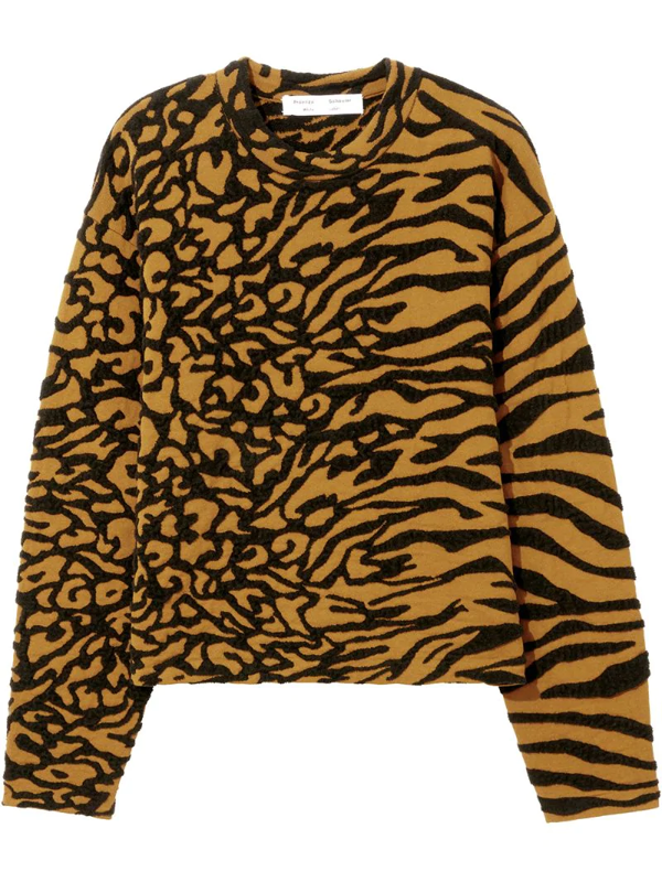 Proenza Schouler White Label Animal Jacquard Knit Pullover In Black