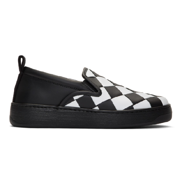 Bottega Veneta Checkerboard Leather Sneakers In 8293-blk/wh