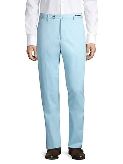 Pt01 Stretch Cotton Pants In Powder Blue