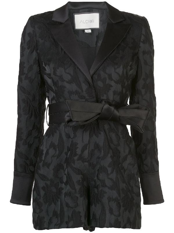 Alexis Ashling Floral-jacquard Crepe Jumpsuit In Black Floral Jacq