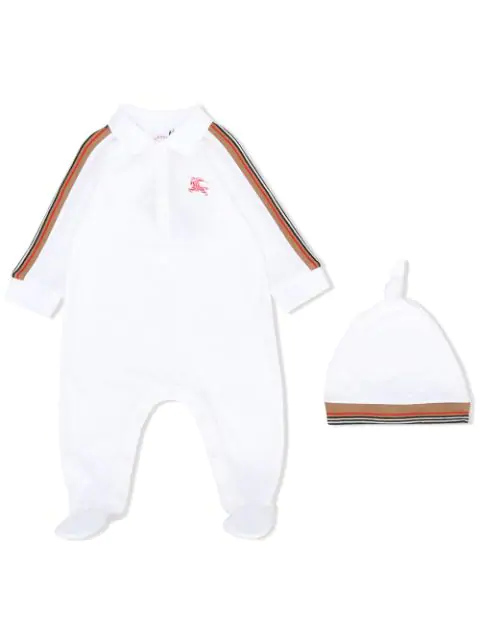 Burberry Babies' Polo Detail Two-piece Set In White