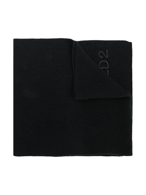 Dsquared2 Kids' Logo Knitted Scarf In Black