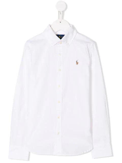 Ralph Lauren Kids' Contrast Logo Shirt In White