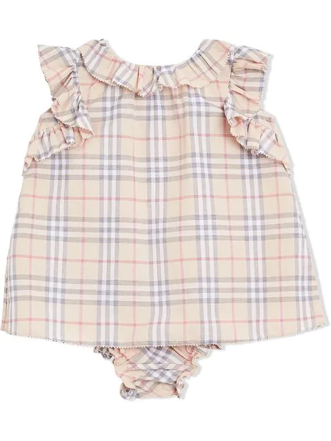 Burberry Babies' Ruffle Trim Checked Two-piece Set In Neutrals