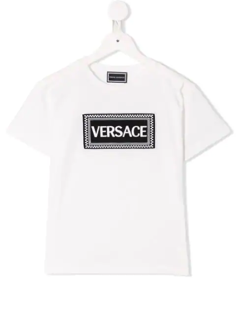 Young Versace Kids' Logo Patch T-shirt In White