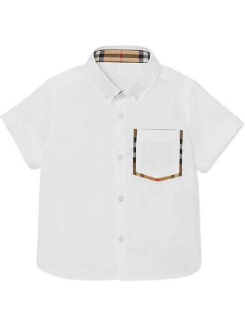 Burberry Kids' Short-sleeve Check Detail Cotton Oxford Shirt In White