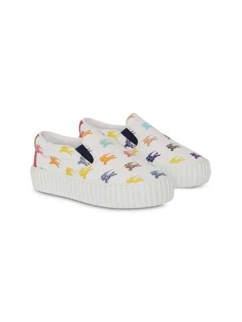 Burberry Kids' Ekd Leather Slip-on Sneakers In White