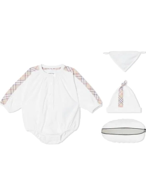 Burberry Three-piece Baby Gift Set In White