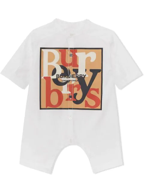 Burberry Babies' Logo And Archive Scarf Print Cotton Jumpsuit In White
