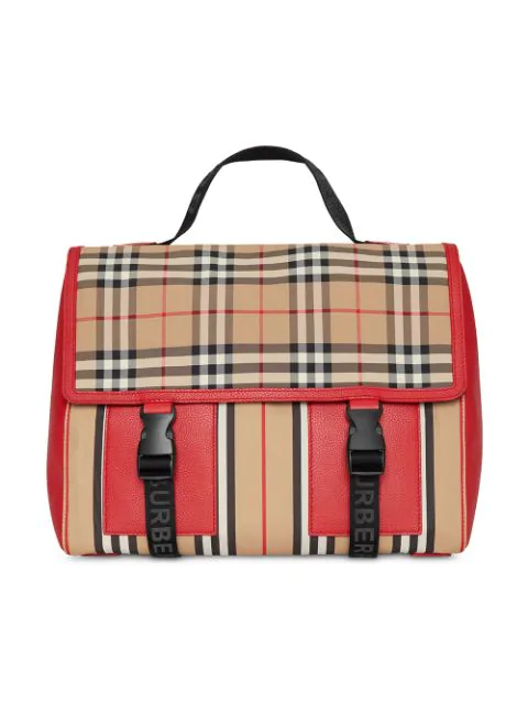 Burberry Kids' Vintage Check And Icon Stripe Nylon Backpack In Neutrals