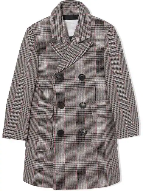 Burberry Kids' Prince Of Wales Check Wool Cotton Blend Coat In Multicolour
