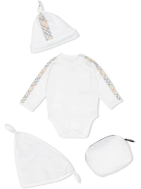 Burberry Check Detail Cotton Three-piece Baby Gift Set In White