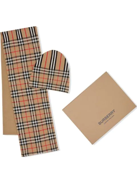 Burberry Kids' Vintage Check And Icon Stripe Wool Two-piece Gift Set In Brown