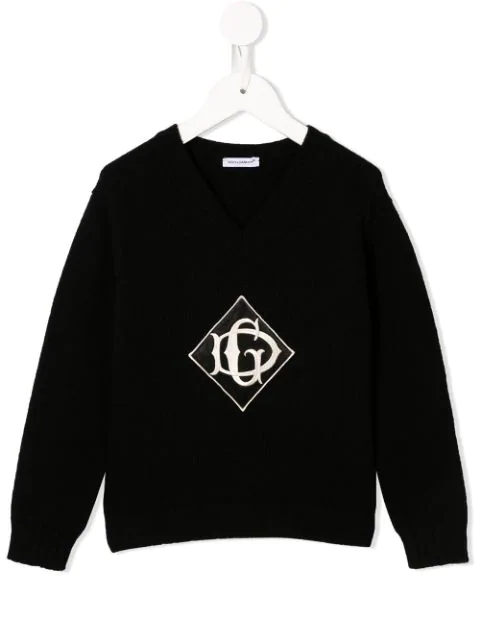 Dolce & Gabbana Kids' Logo Embroidered Jumper In Black