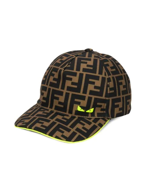 Fendi Kids' Monogram Pattern Baseball Cap In Brown