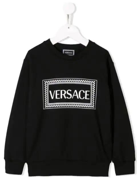 Young Versace Kids' Logo Print Sweatshirt In Black
