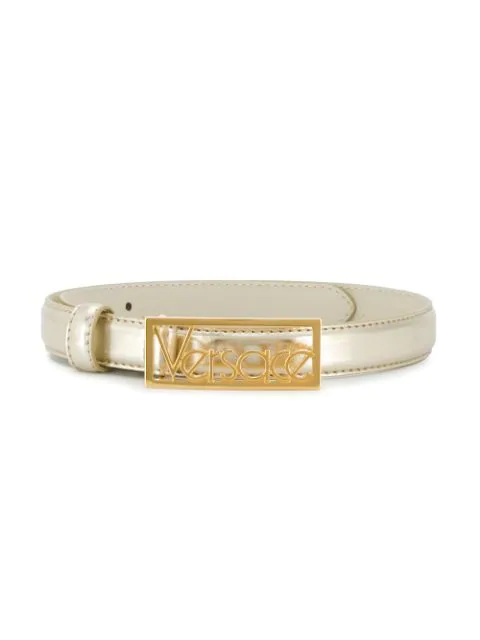 Young Versace Kids' Metallic Logo Leather Belt In Gold