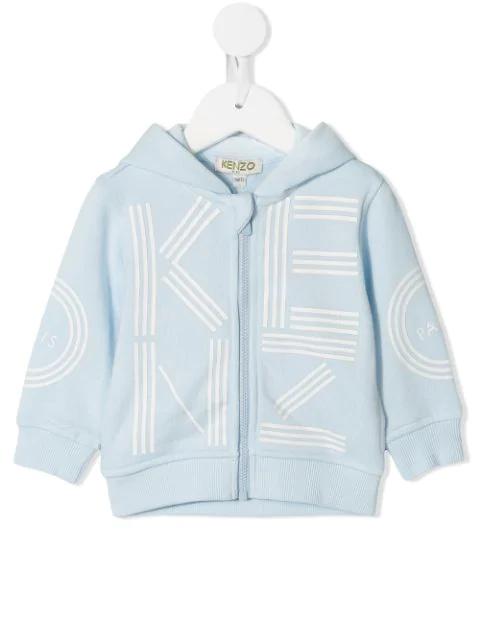 Kenzo Babies' Logo Print Zipped Hoodie In Blue