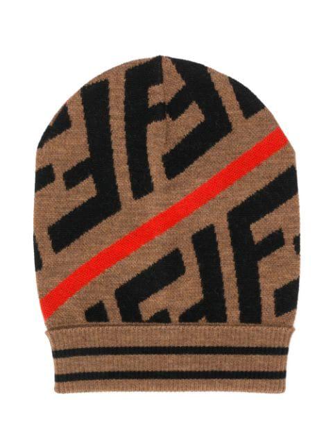 Fendi Teen Ff Pattern Knitted Beanie In Brown