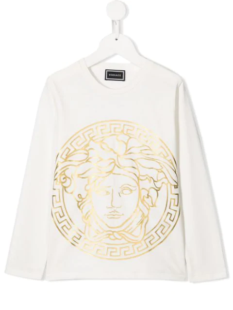 Young Versace Kids' Medusa Print T-shirt In White