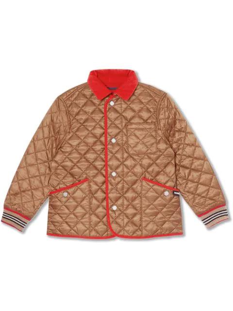 Kids Icon Stripe Trim Lightweight Diamond Quilted Jacket In Brown