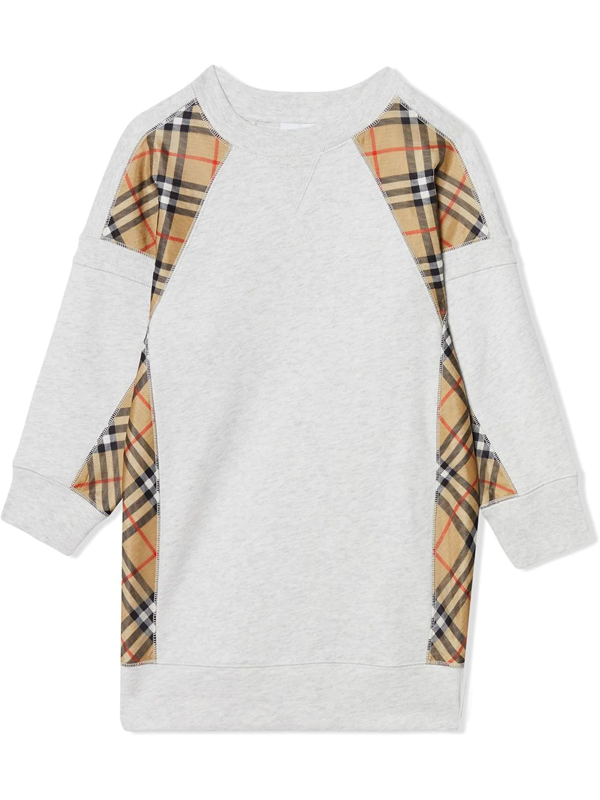 Burberry Kids' Vintage Check Panel Cotton Sweater Dress In White