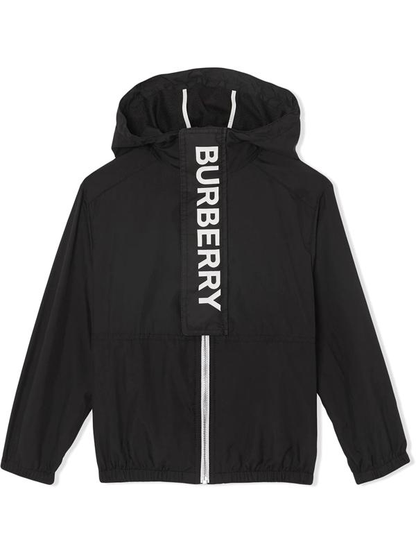 Burberry Kids' Logo Print Lightweight Hooded Jacket In Black