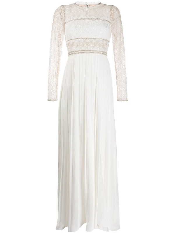 Self-portrait Lace-panelled Pleated-crepe Maxi Dress In White
