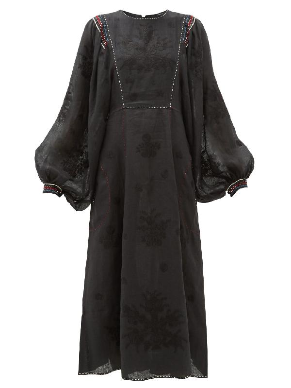 Vita Kin Happy Flower Embroidered Linen Dress In Black