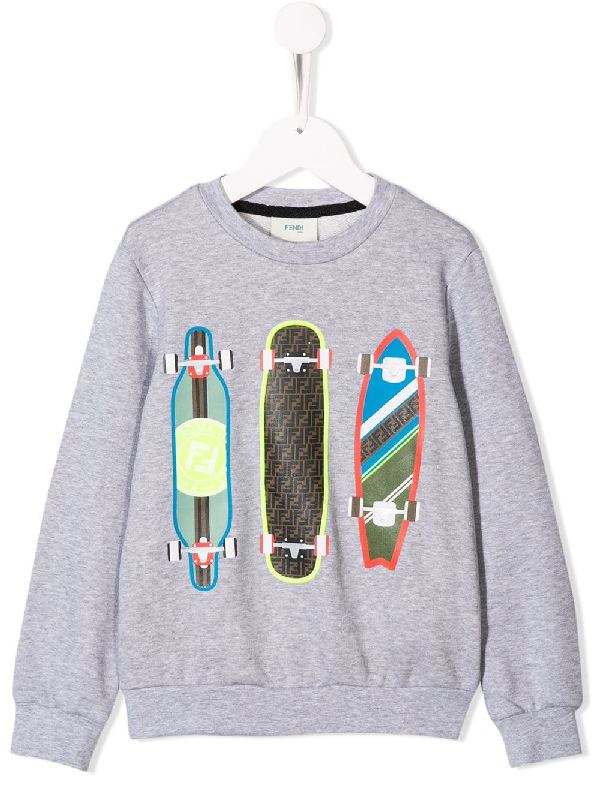 Fendi Kids' Skateboard Printed Cotton Sweatshirt In Grey