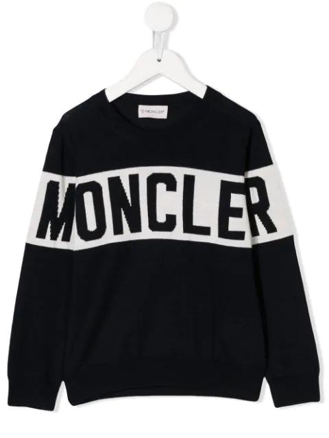 Moncler Kids' Jacquard Logo Tricot Wool Sweater In Blue