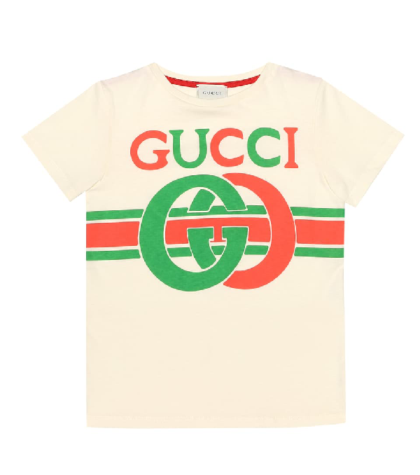 Gucci Kids' Logo Printed Cotton Jersey T-shirt In Yellow