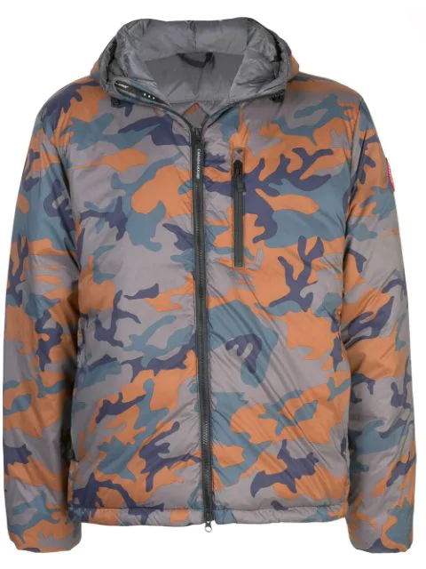 Canada Goose Lodge Hooded Camouflage-print Puffer Jacket In Green
