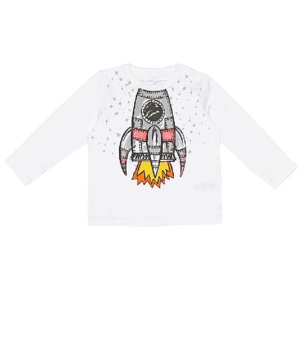 Stella Mccartney Babies' Rocket Printed Cotton Sweatshirt In White