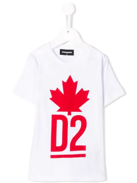 Dsquared2 Kids' Logo Printed Cotton Jersey T-shirt In White