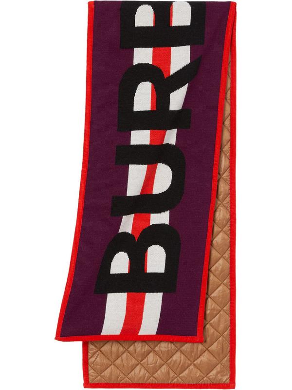 Burberry Kids' Logo Merino Wool Jacquard Scarf In Red