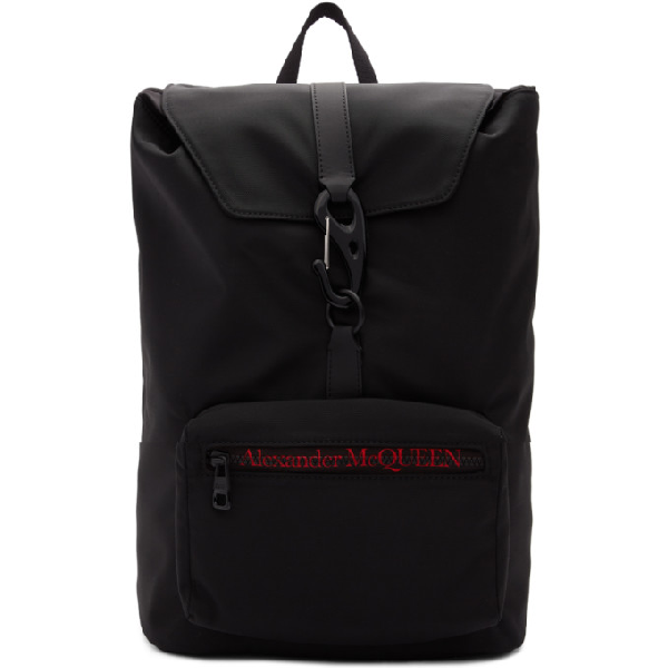 Alexander Mcqueen 'urban' Logo Embroidered Nylon Backpack In Black