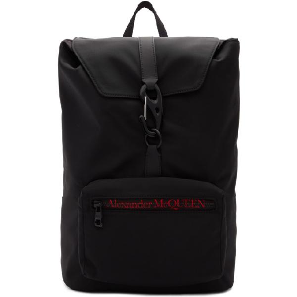 Alexander Mcqueen 'urban' Logo Embroidered Nylon Backpack In 1000 Black